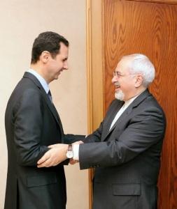 Le président Syrien Bachar El Assad et le ministre des Affaires étrangères de l'Iran, Mohammad Javad Zarif