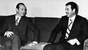 Jacques Chirac, alors premier ministre et le président Irakien Saddam Hussein