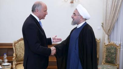 Le ministre des Affaires étrangères Laurent Fabius et le président de l'Iran Hassan Rohanni en juillet dernier