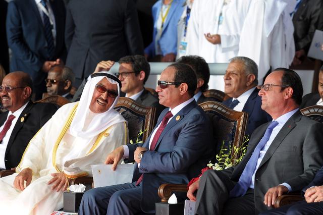 Le président Soudanais Omar El Bechir, l'émir du Koweït Al Sabah, le président Égyptien Al Sissi et le président François Hollande