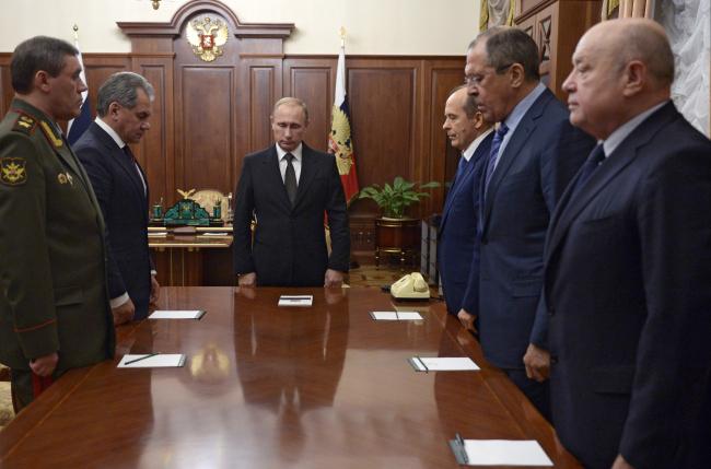 Vladimir Putin, Valery Gerasimov, Sergei Shoigu, Alexander Bortnikov, Sergey Lavrov, Mikhail Fradkov